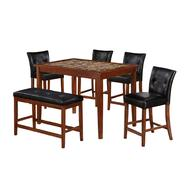 5 pc. Faux Marble Dining Set with Faux Leather Bench Bundle at Sears.com
