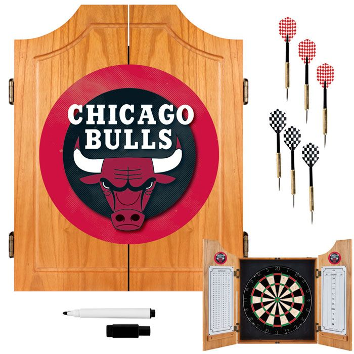 Chicago Bulls NBA Wood Dart Cabinet Set                                                                                          at mygofer.com