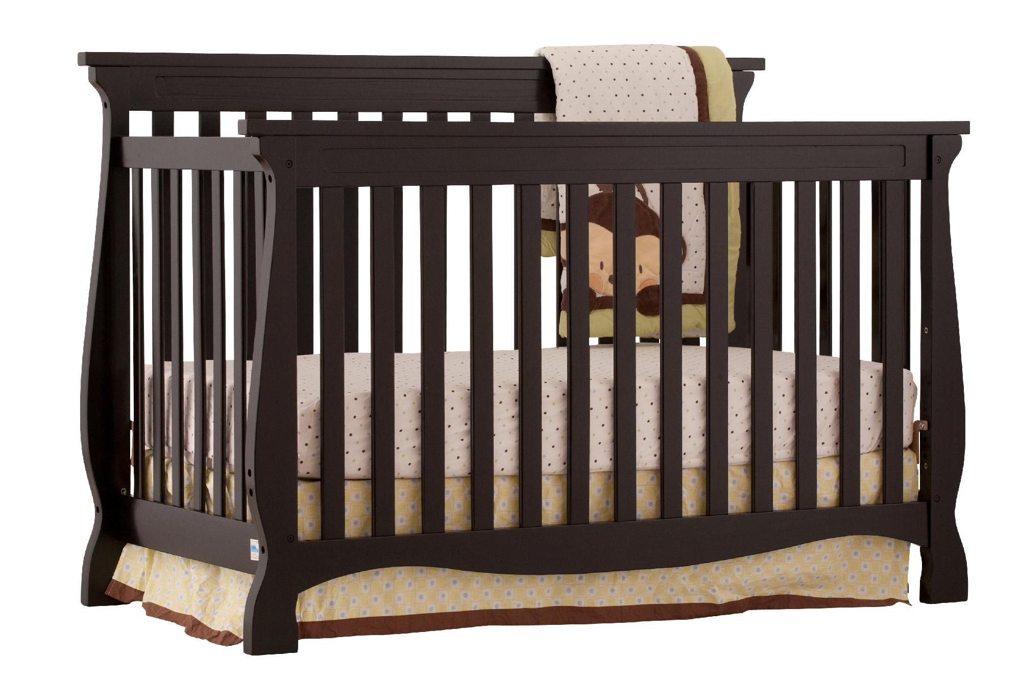 Stork Craft Carrara 4 in 1 Fixed Side Convertible Crib - Black                                                                   at mygofer.com