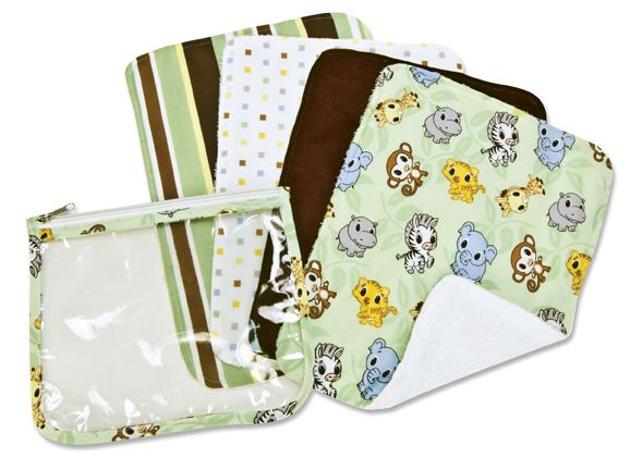 Gift Set - Chibi Zoo Zipper Pouch and 4 Burp