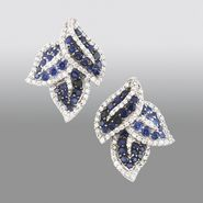 Pretty in Pave™ Sterling Silver Shades of Created Sapphire Leaf Earring at Sears.com