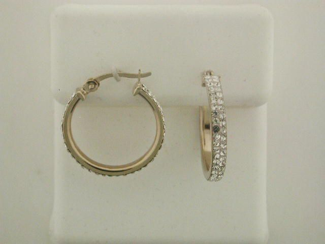 Gold over Silver 2 Row Crystal 20mm Hoops