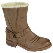 Yoki Women's Piper Short Sherling Buckle Boot - Beige at Kmart.com