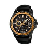Casio Mens Diver Style Calendar Day/Date Watch w/GT/Black Case, Multi-Display Dial and Black Band at Sears.com