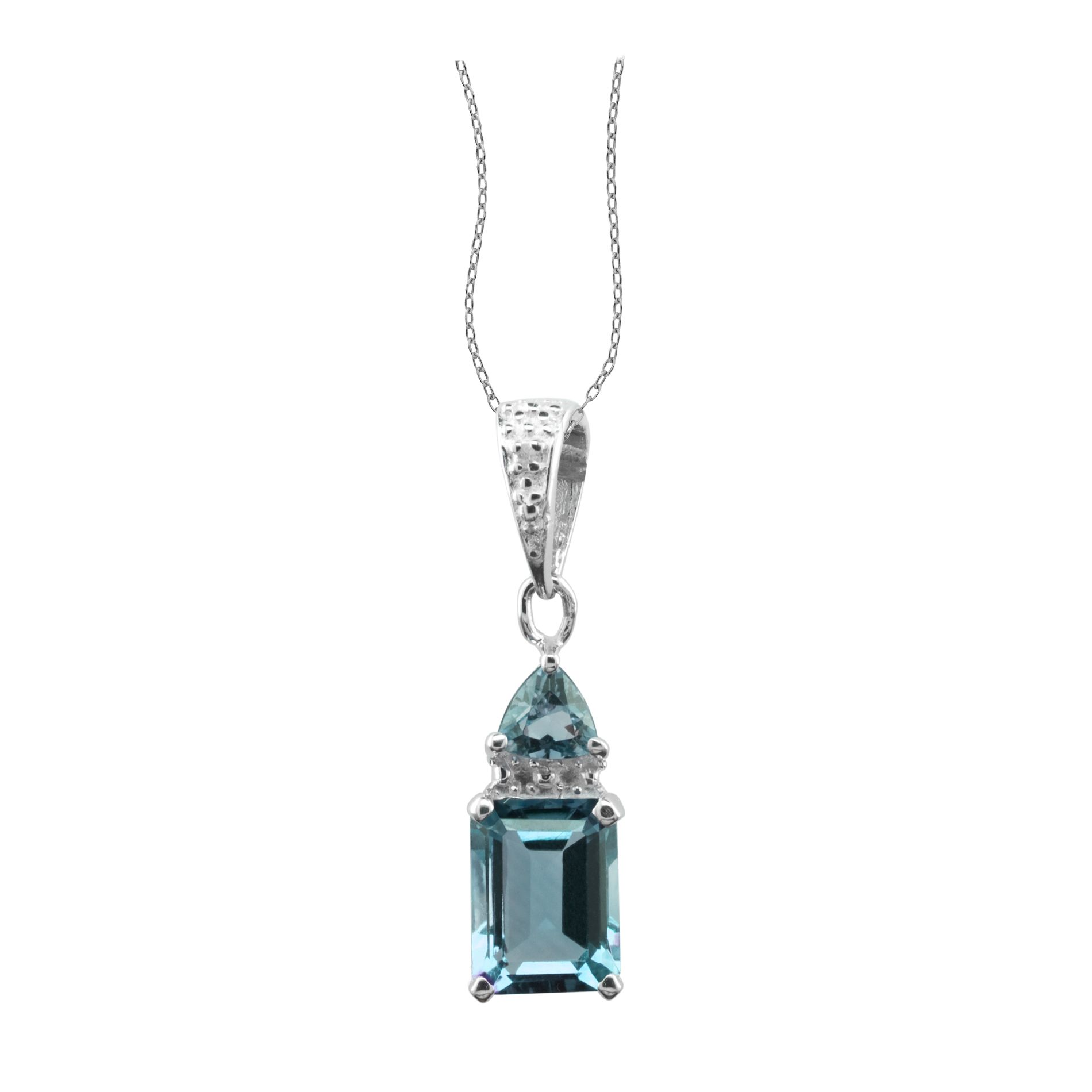 Blue Topaz and Diamond Accent Pendant