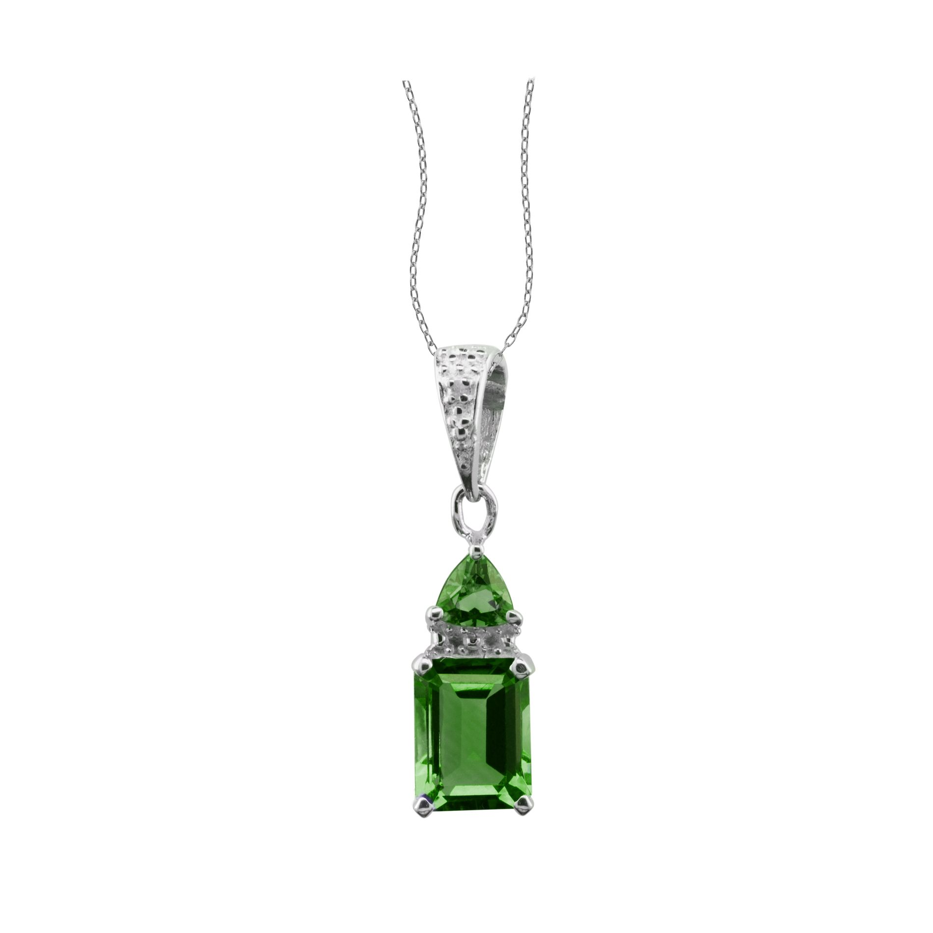 Lab Created Emerald and Diamond Accent Pendant Sterling Silver                                                                   at mygofer.com