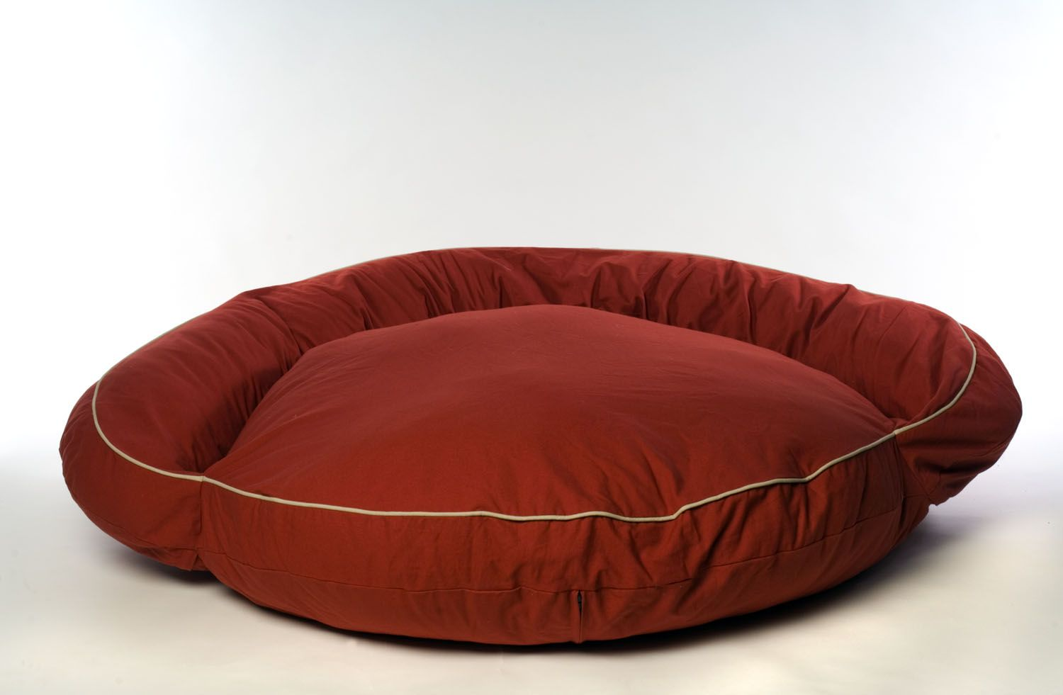 Carolina Pet Small Classic Twill Bolster Bed - Barn Red w/Khaki Cording
