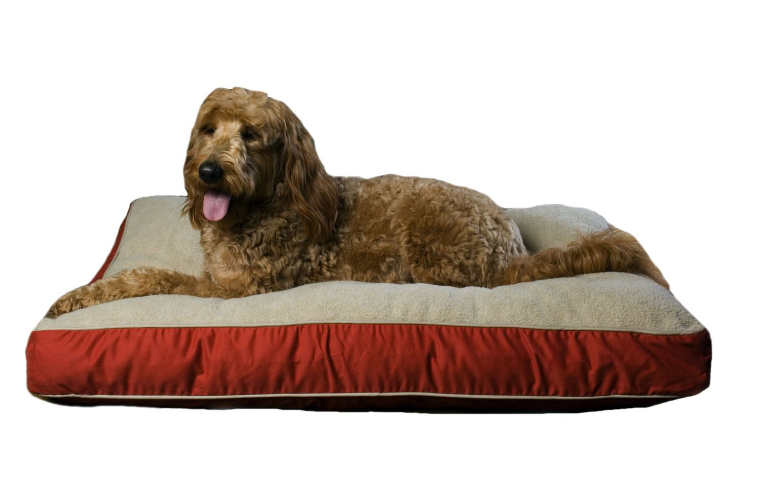 "Carolina Pet Medium Four Season ""Jamison"" Bed - Red w/Khaki Cording"