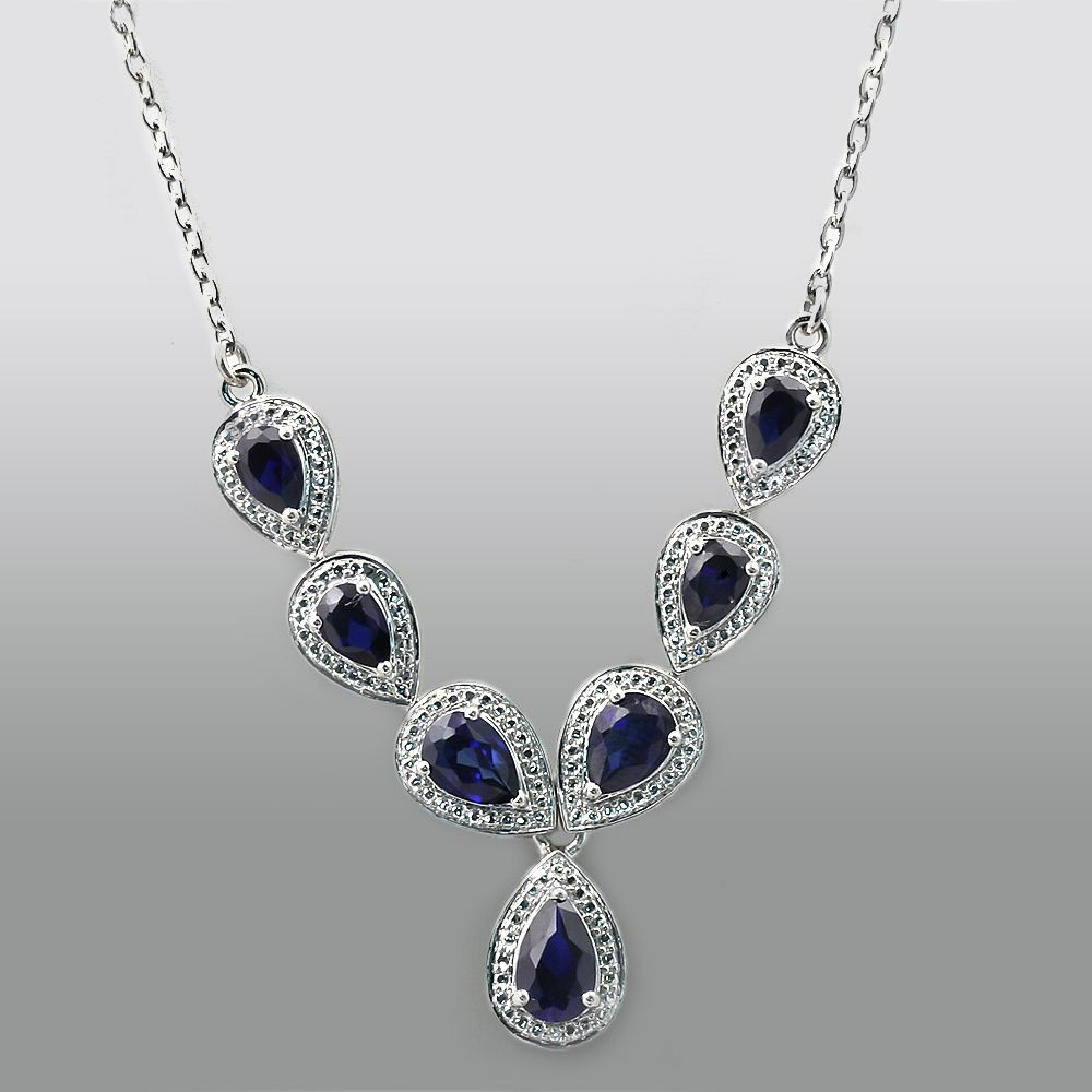 Lab Created Blue Sapphire Pear Drop Necklace