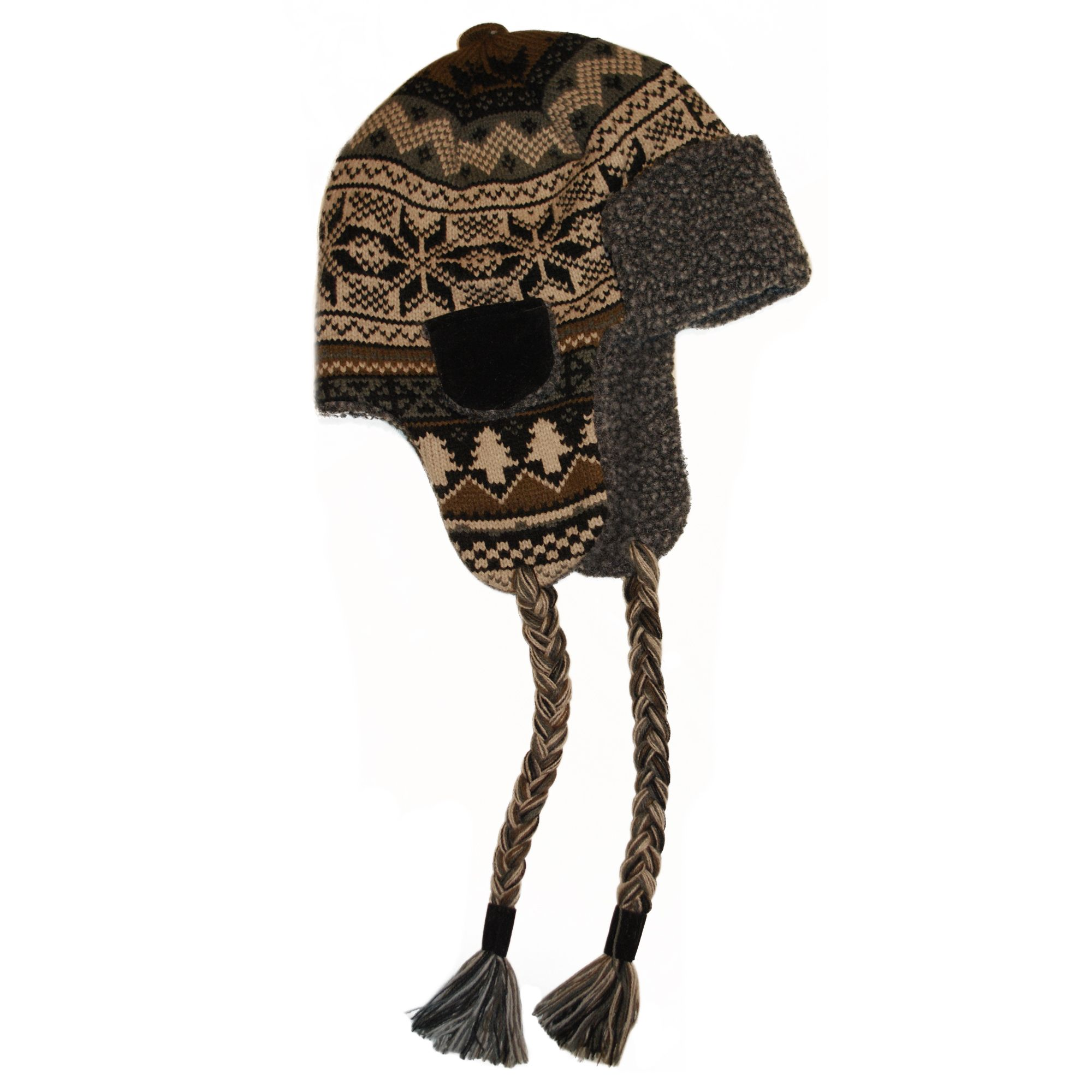 MUK LUKS® Traditional Nordic Knit Button Top Trapper Hat with Sherpa Lining - Neutral
