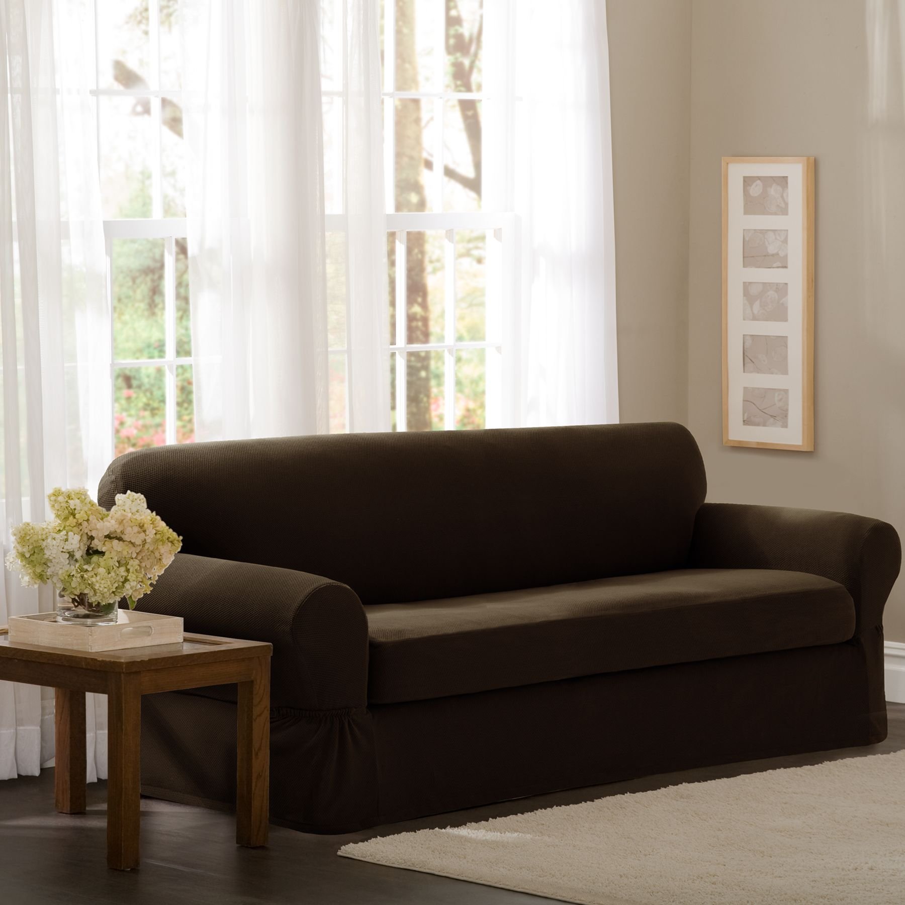 Essential Home 2 Piece Sofa Slipstretch Pixel Choc