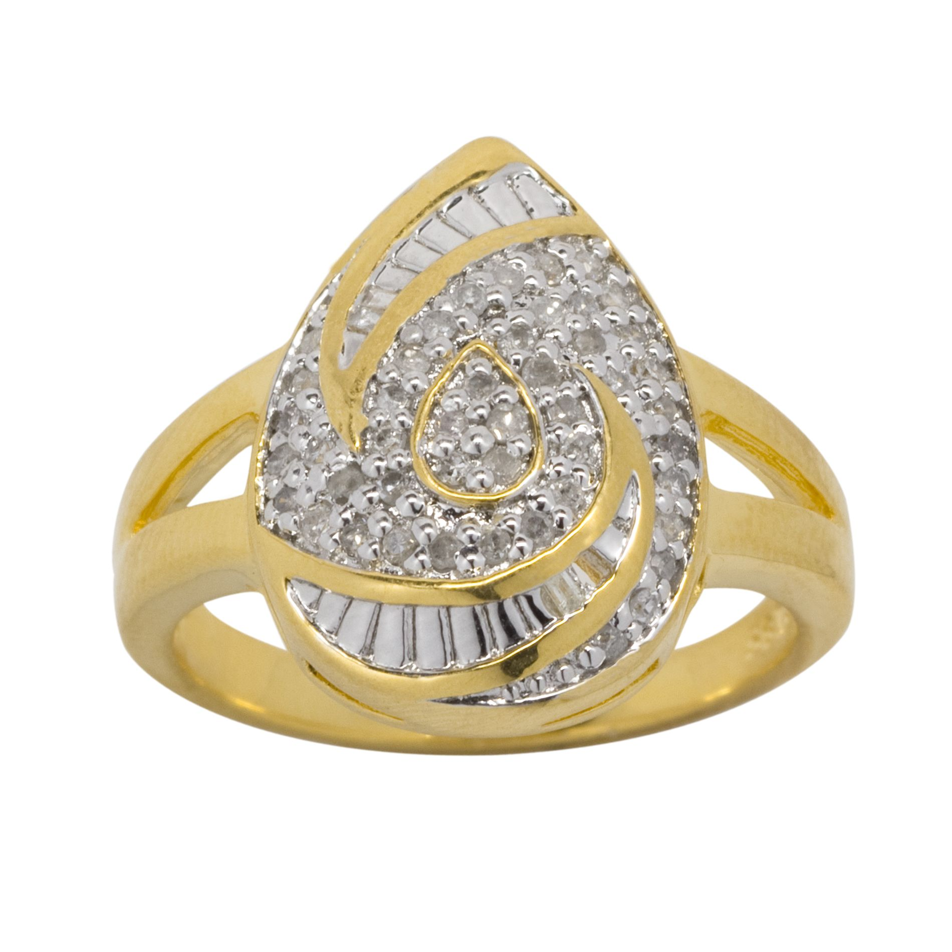 1/4cttw Diamond Ring in 18k Gold over Sterling Silver