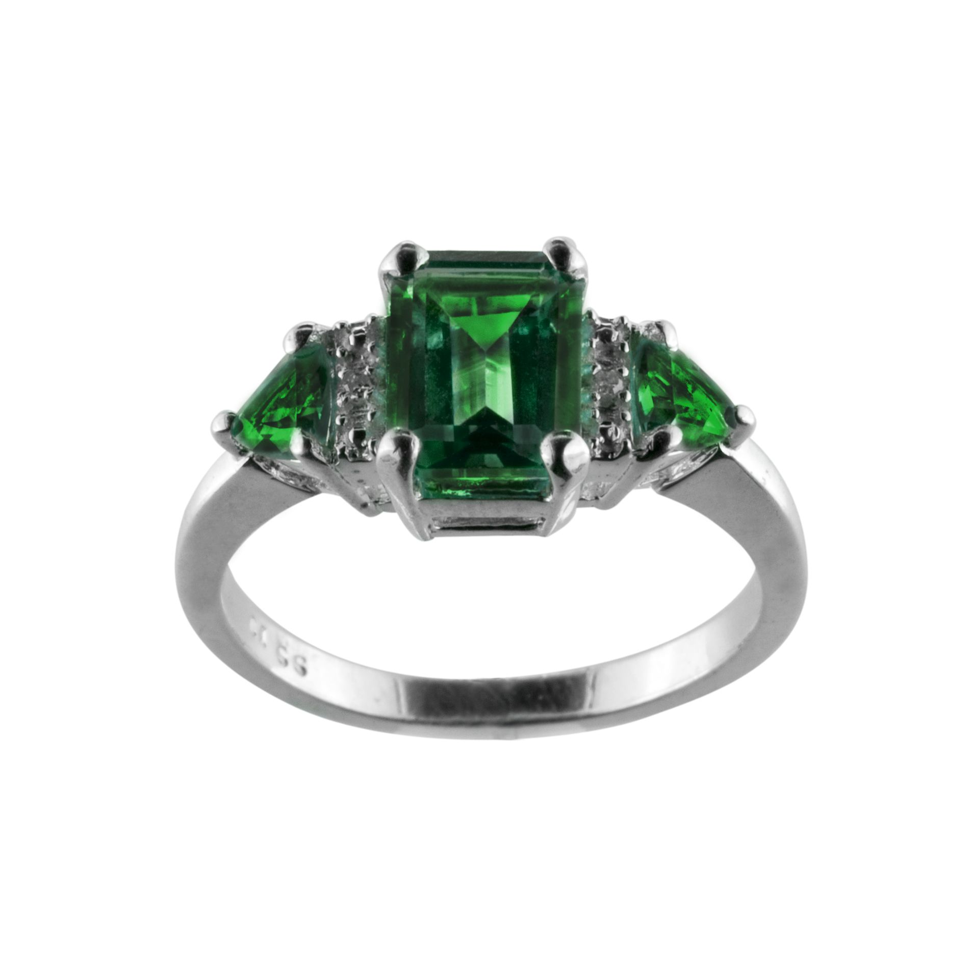 Lab Created Emerald and Diamond Accent Ring