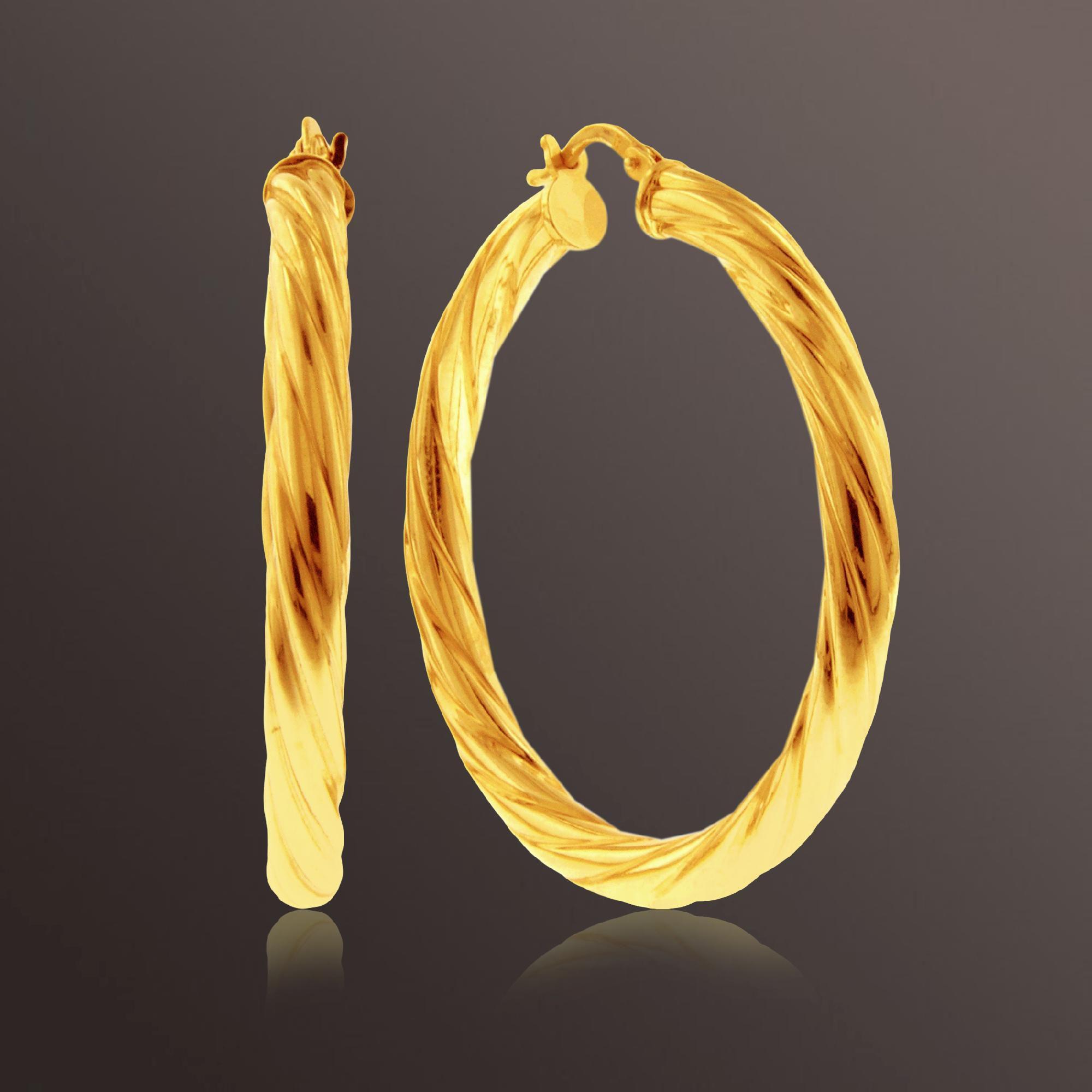 Romanza Swirl Medium Hoop Earrings set in Gold over Bronze