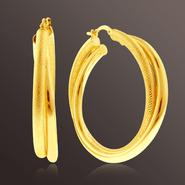 Romanza Twist Satin/Polished Hoop Earrings set in Gold over Bronze at Kmart.com