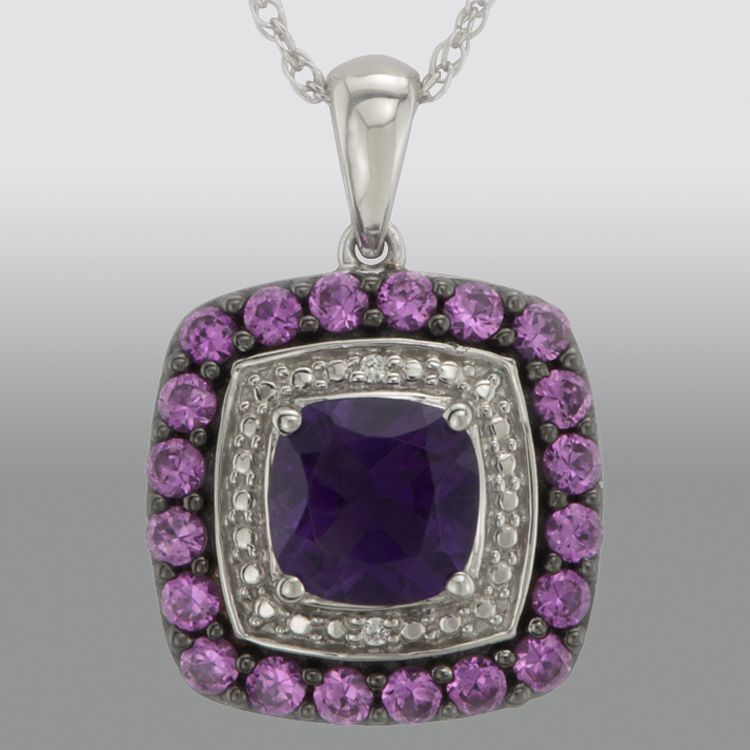 Ladies' Sterling Silver Amethyst Lab-Created Pink Sapphire and Diamond Accent Pendant