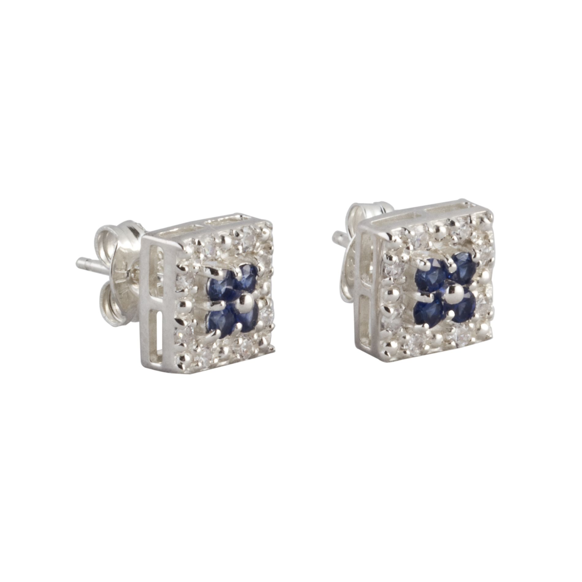 Lab Created Blue and White Sapphire Earrings