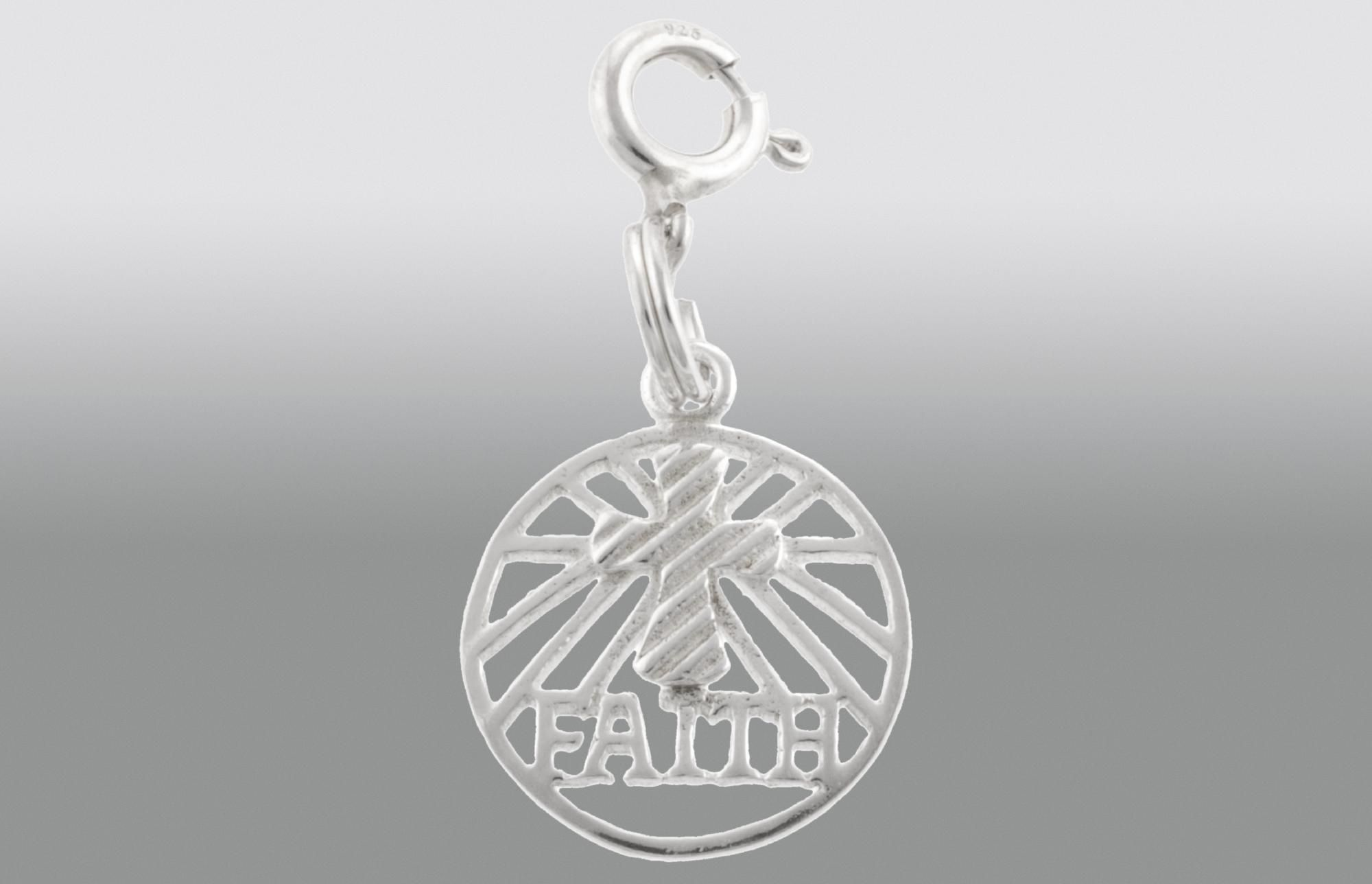 Sterling Silver Faith Circle Charm