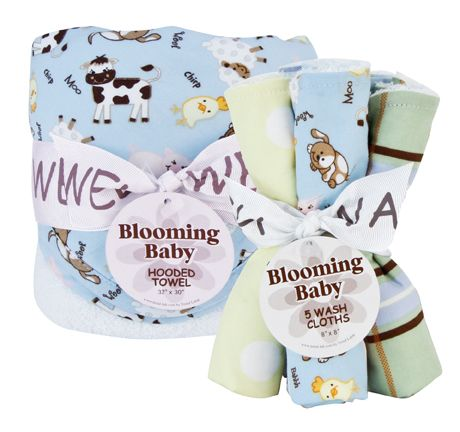 Baby Barnyard - Hooded Towel and Wash Cloth Set