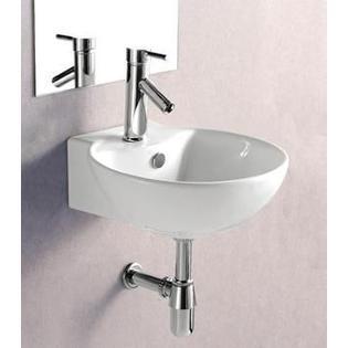 Elanti Porcelain White Wall-Mounted 17 x 16 Inch Deep Bowl Sink