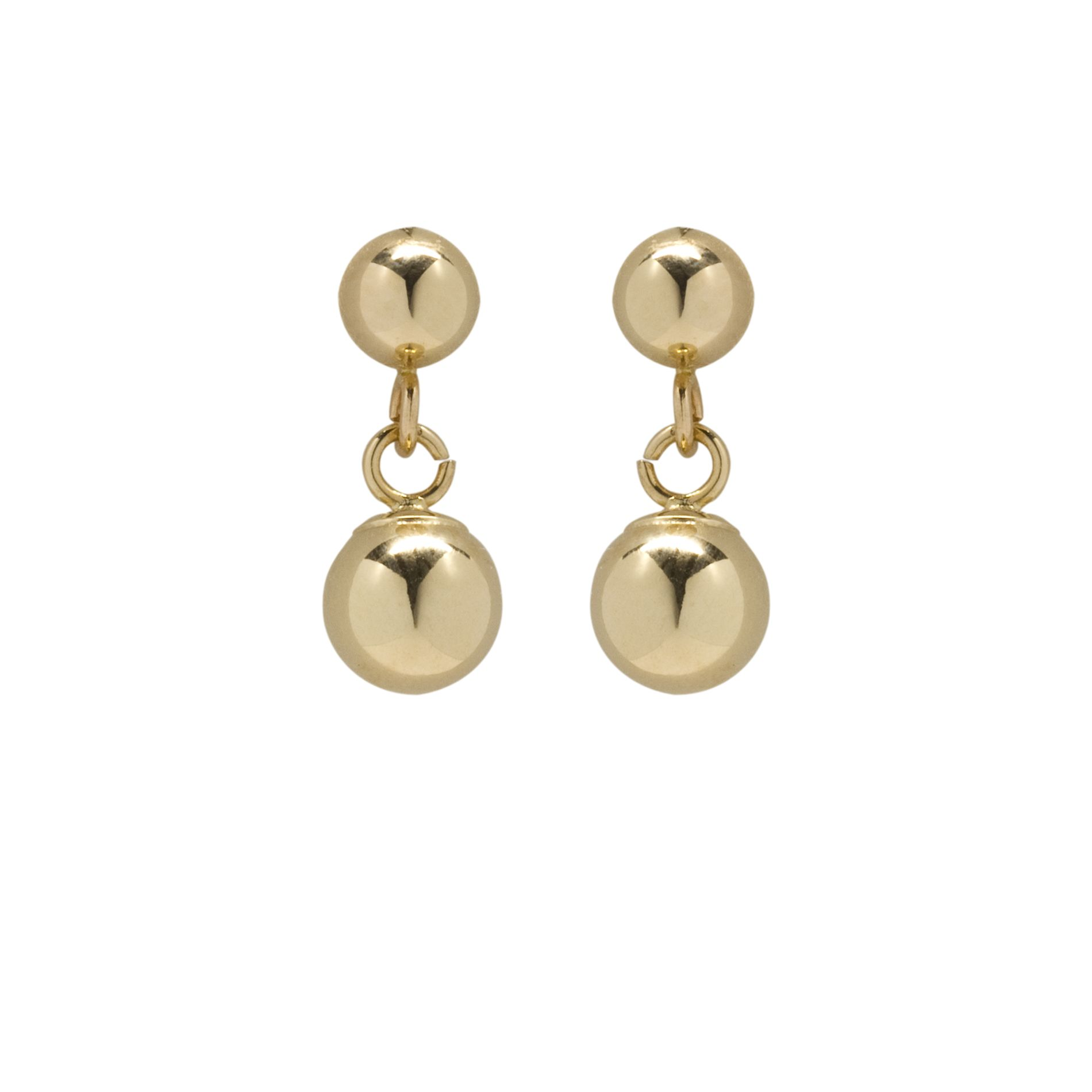 10K Yellow Gold 5mm Ball Dangle Earrings