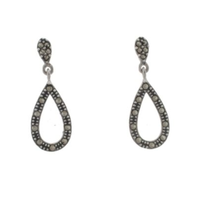 Sterling Silver Marcasite Teardrop Earrings                                                                                      at mygofer.com