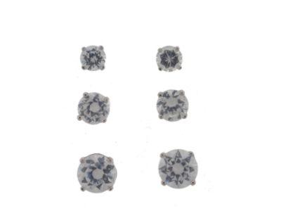Sterling Silver 3Pair Cubic Zirconia Stud Earring Set