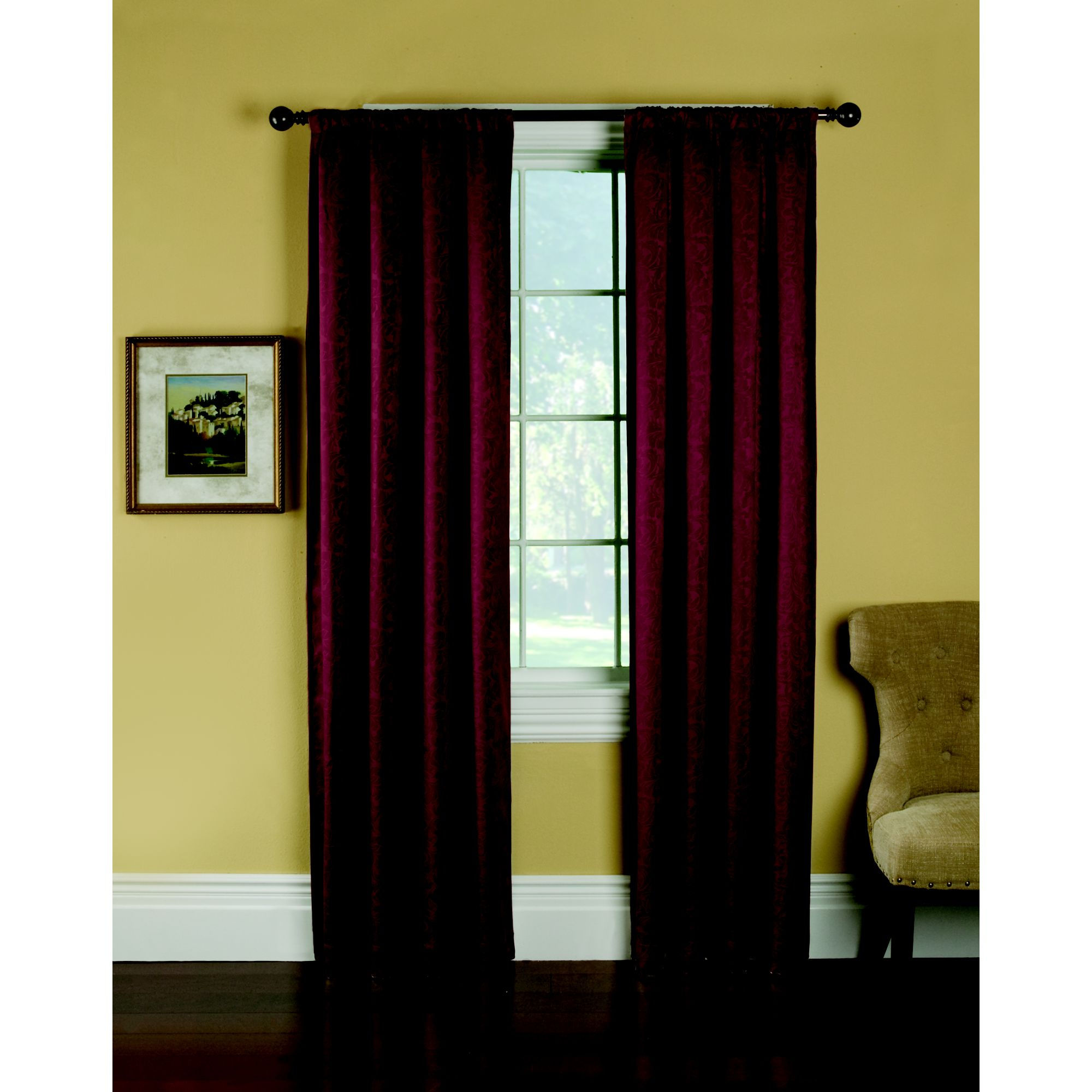 Embossed Symphony Room Darkening Panel - Scarlet