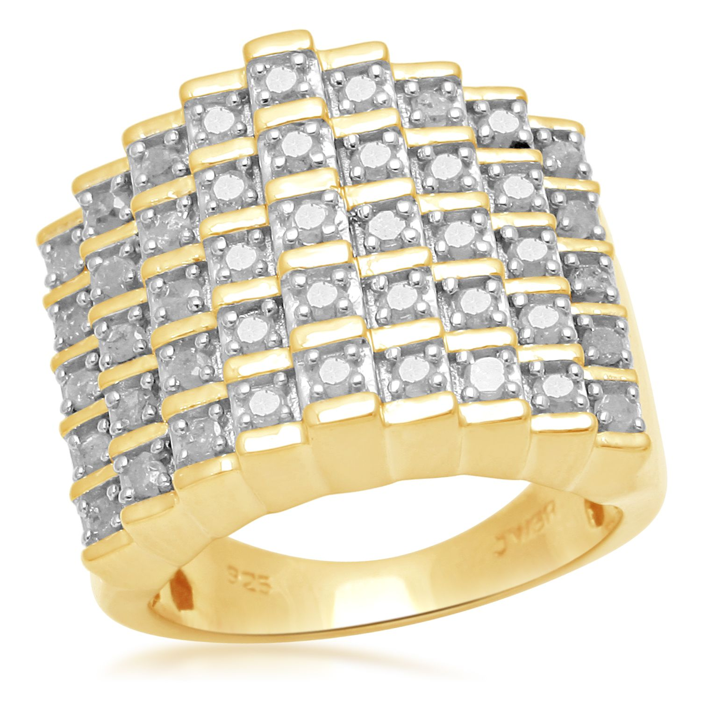 1 cttw 5 Row Diamond Pyramid Ring