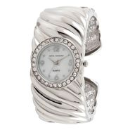 Sofia by Sofia Vergara Ladies Stone Accent Watch with Round Silvertone Case, Inset White Dial and ST Textured Bracelet Band at Kmart.com