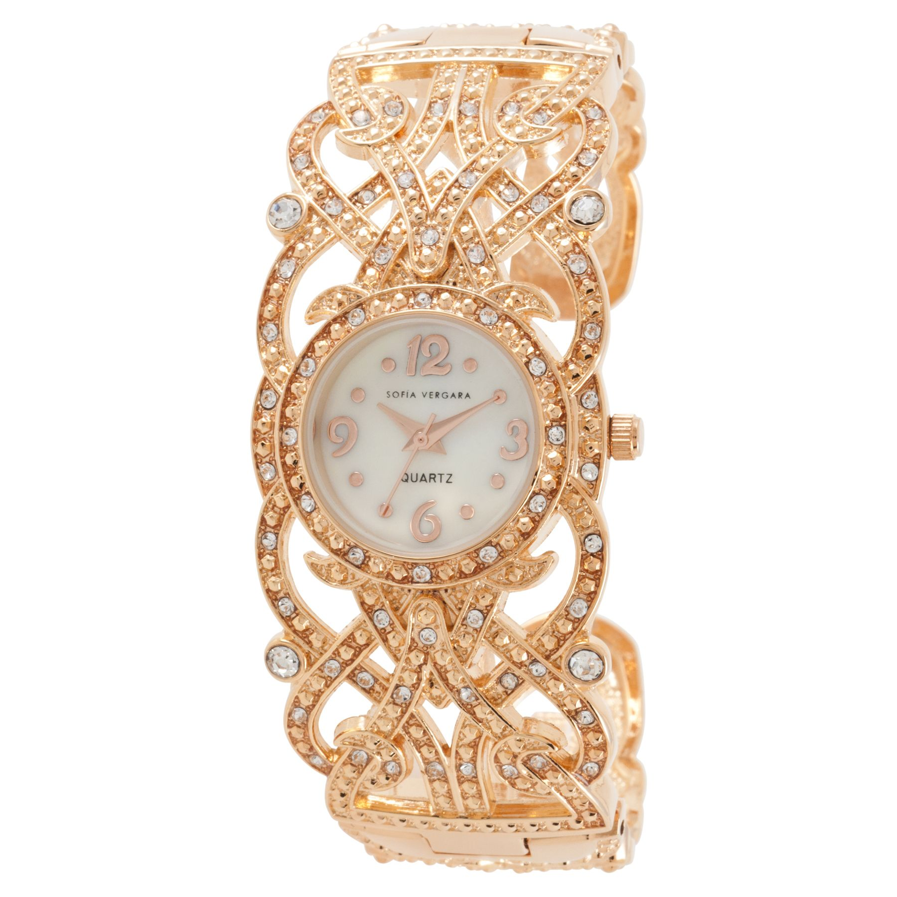 Ladies Stone Accent Watch with Round Rose Goldtone Case, Mother-of-Pearl Dial and Rose Gold Filigree Bracelet Band               at mygofer.com