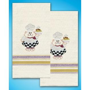 Tobin Stamped Kitchen Towels For Embroidery-Cat Chef