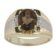 Men's Smoky Quartz Ring 18k Gold over Sterling Silver at Kmart.com
