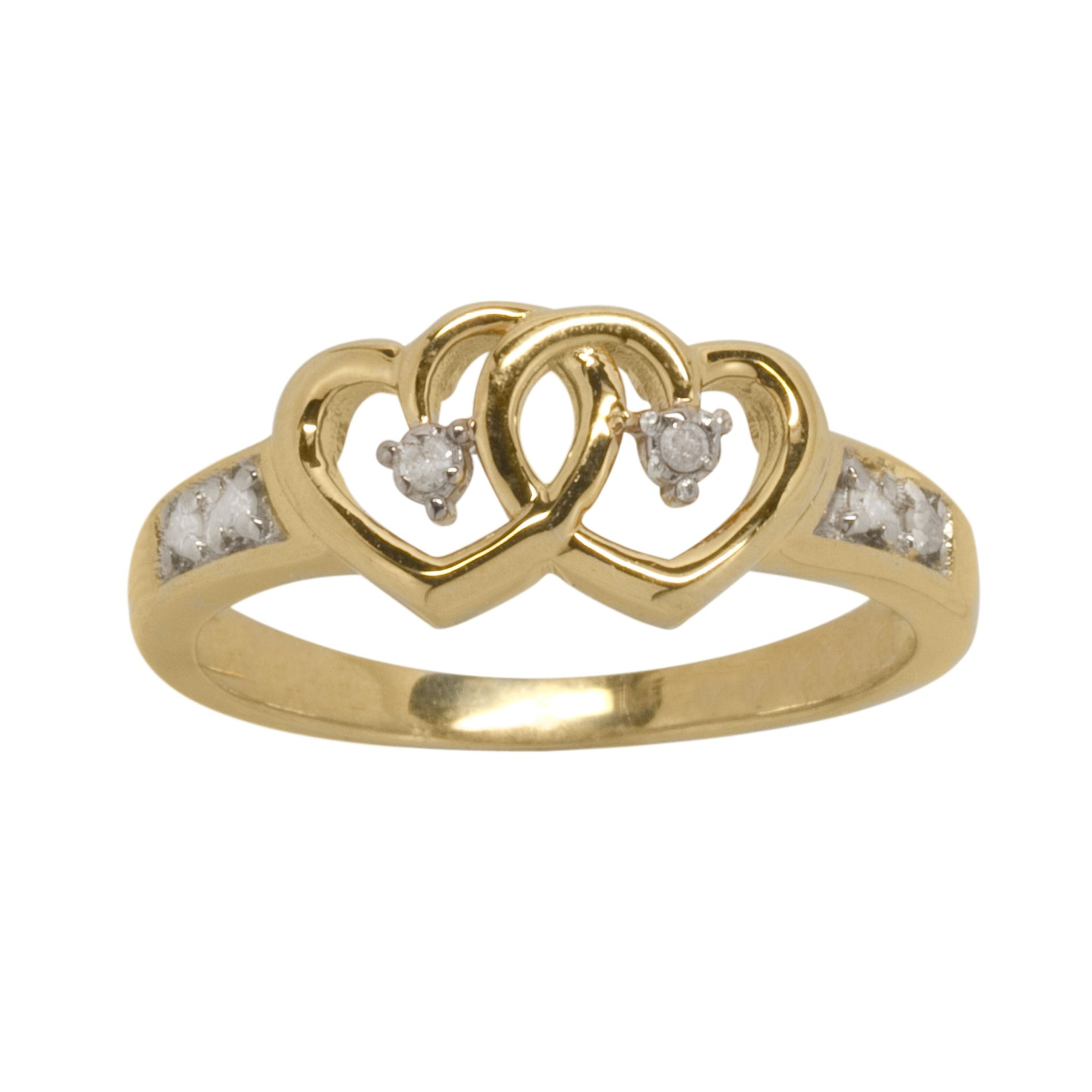 Diamond Accent Heart Ring in 14k Gold over