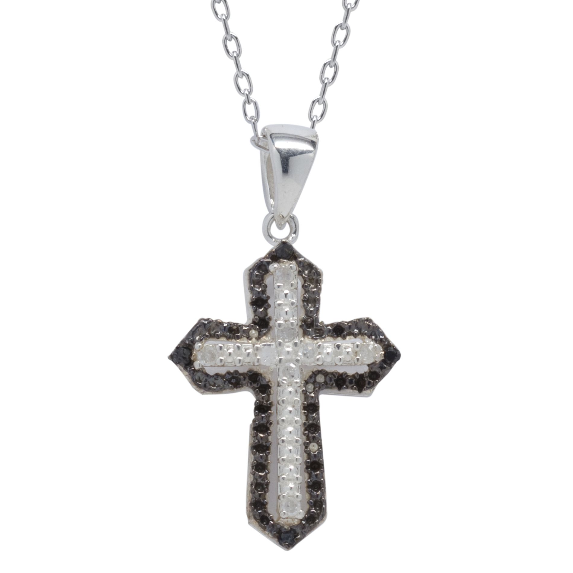 1/10cttw Black and White Cross Diamond