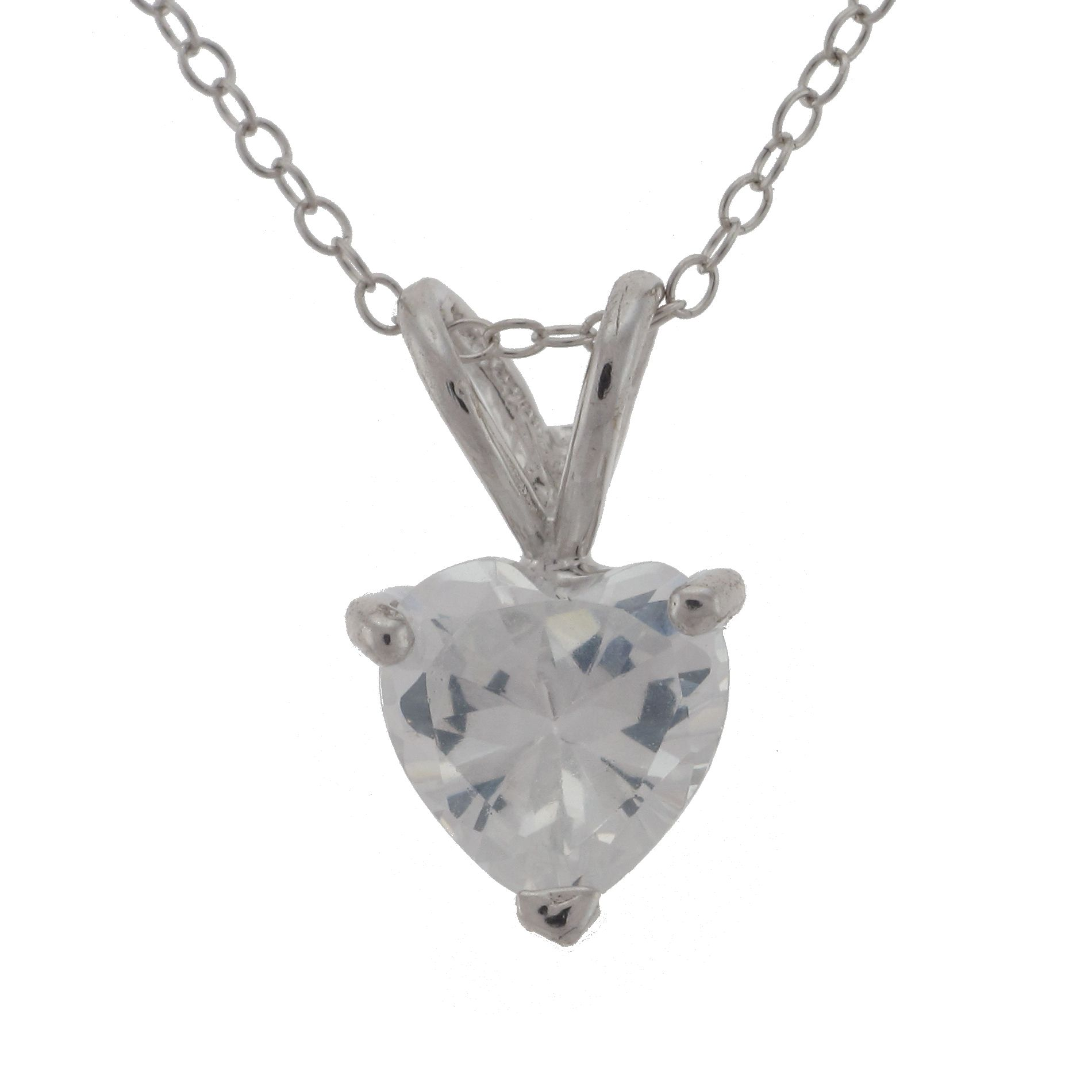 Sterling Silver 7mm Cubic Zirconia Heart Pendant