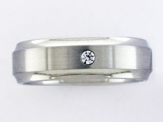 Men's 6MM Stainless Steel Diamond Accent band