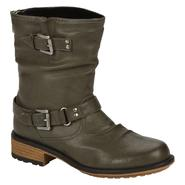 Qupid Women's Relax-46 Short Buckle Flat Boot - Grey at Kmart.com