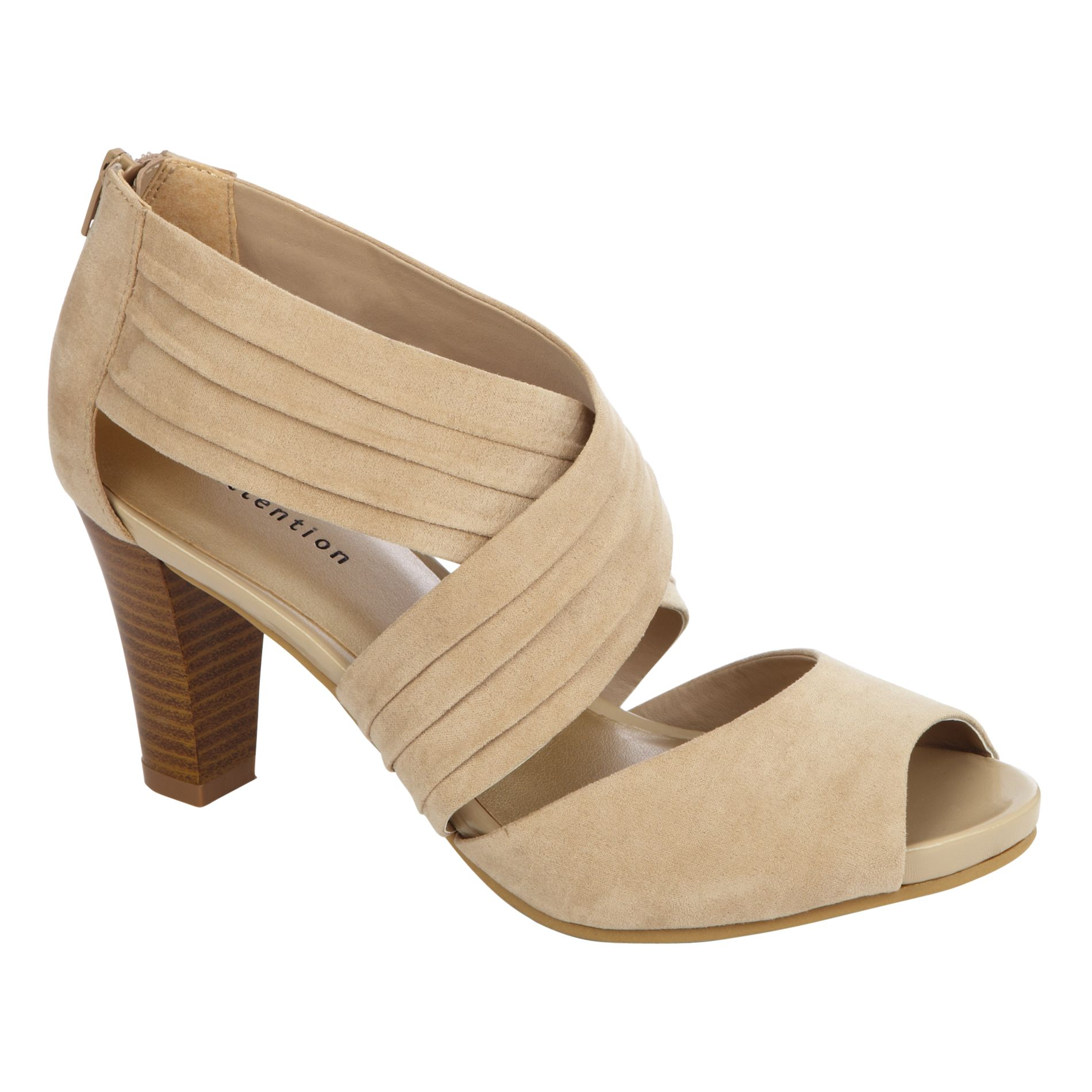 Attention Women s Jenna Pleated Cross Band Pump - Tan