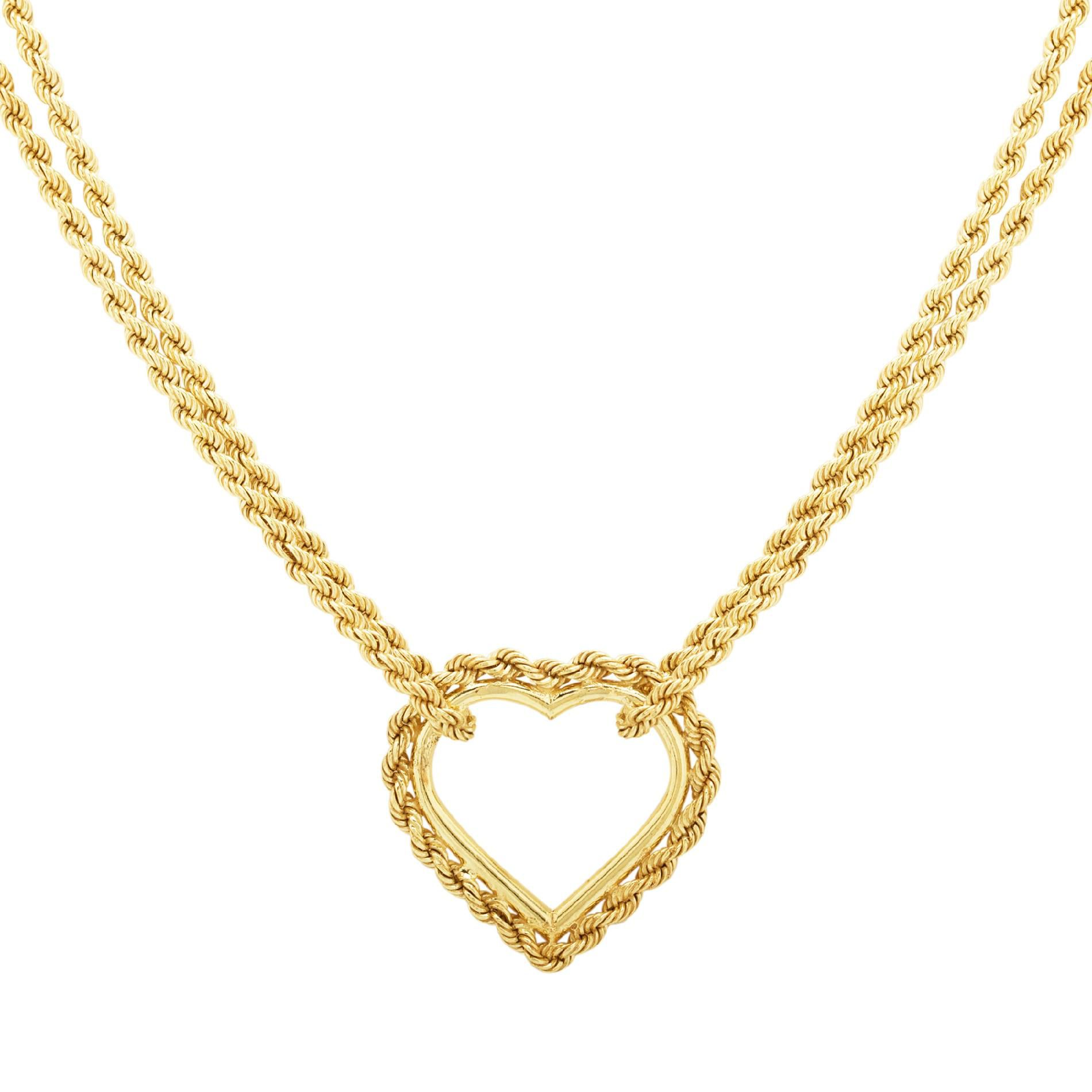 10K&SS Open Heart Necklace