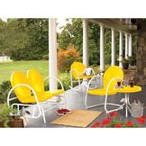 Garden Oasis Retro Steel Table - Yellow at mygofer.com