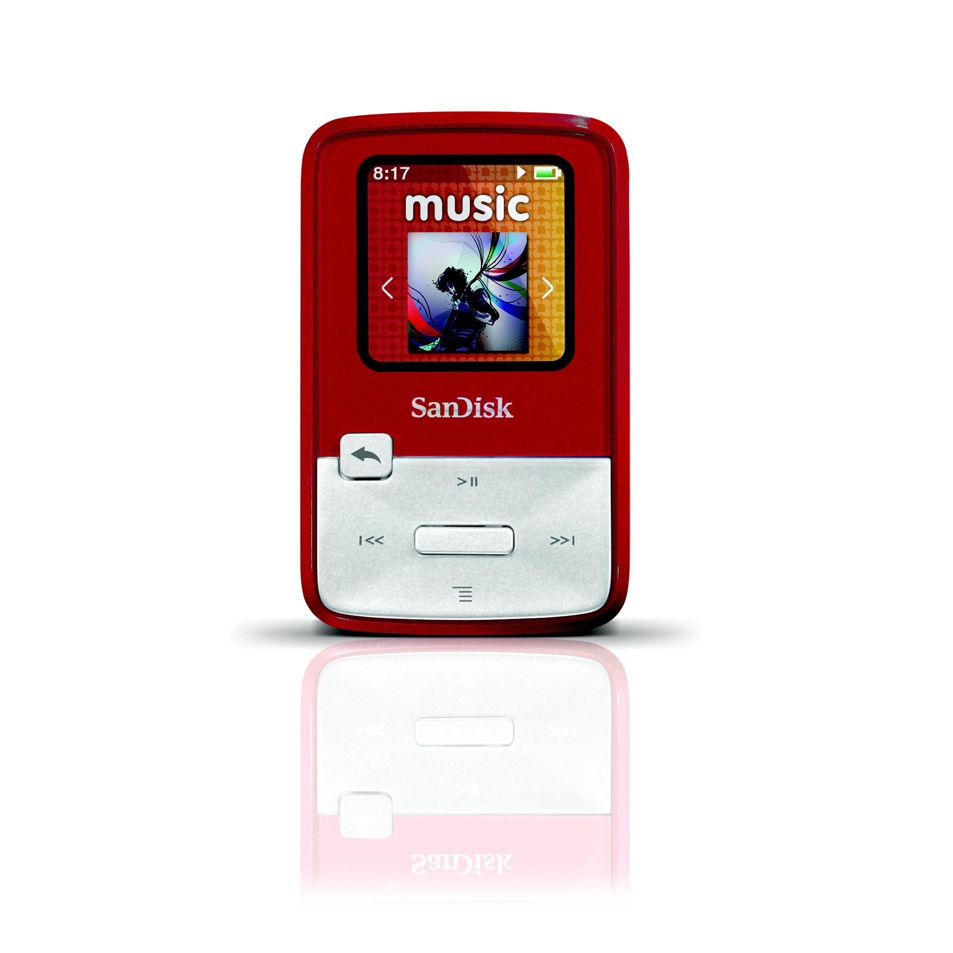 SANSA Clip Zip MP3 Player, 4GB Red
