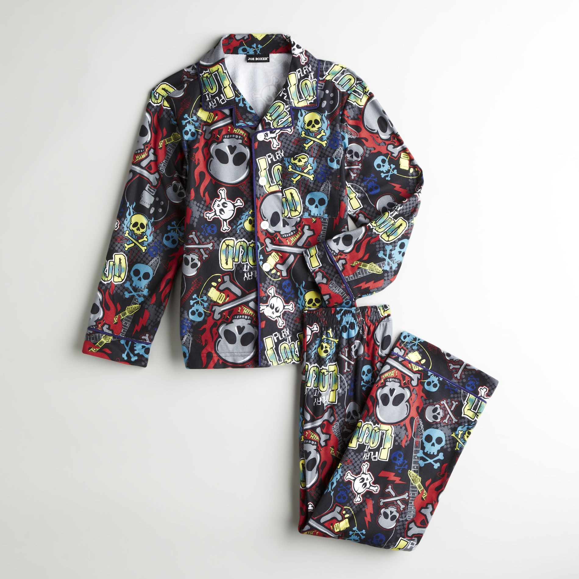 Joe Boxer Boy's Flannel Coat Style Pajamas
