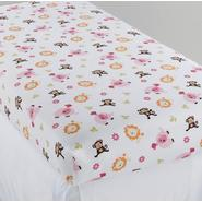 NoJo Newborn Girl's Raspberry Jungle Fitted Crib Sheet at Kmart.com