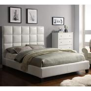 Oxford Creek Harper Panel Upholstered Queen Bed in White Faux Leather at Sears.com