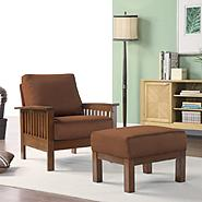 Oxford Creek Mission-style Oak/ Rust Chair and Ottoman at Kmart.com