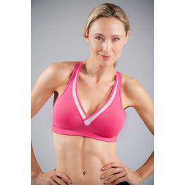 Joe Boxer Women's Sports Bra V-Neck Pink/White Stripe at Kmart.com