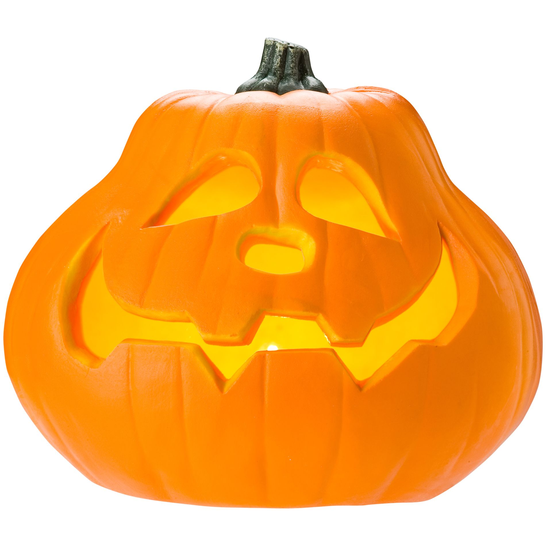 9in Carved Lighted Pumpkin - Wide Mouth