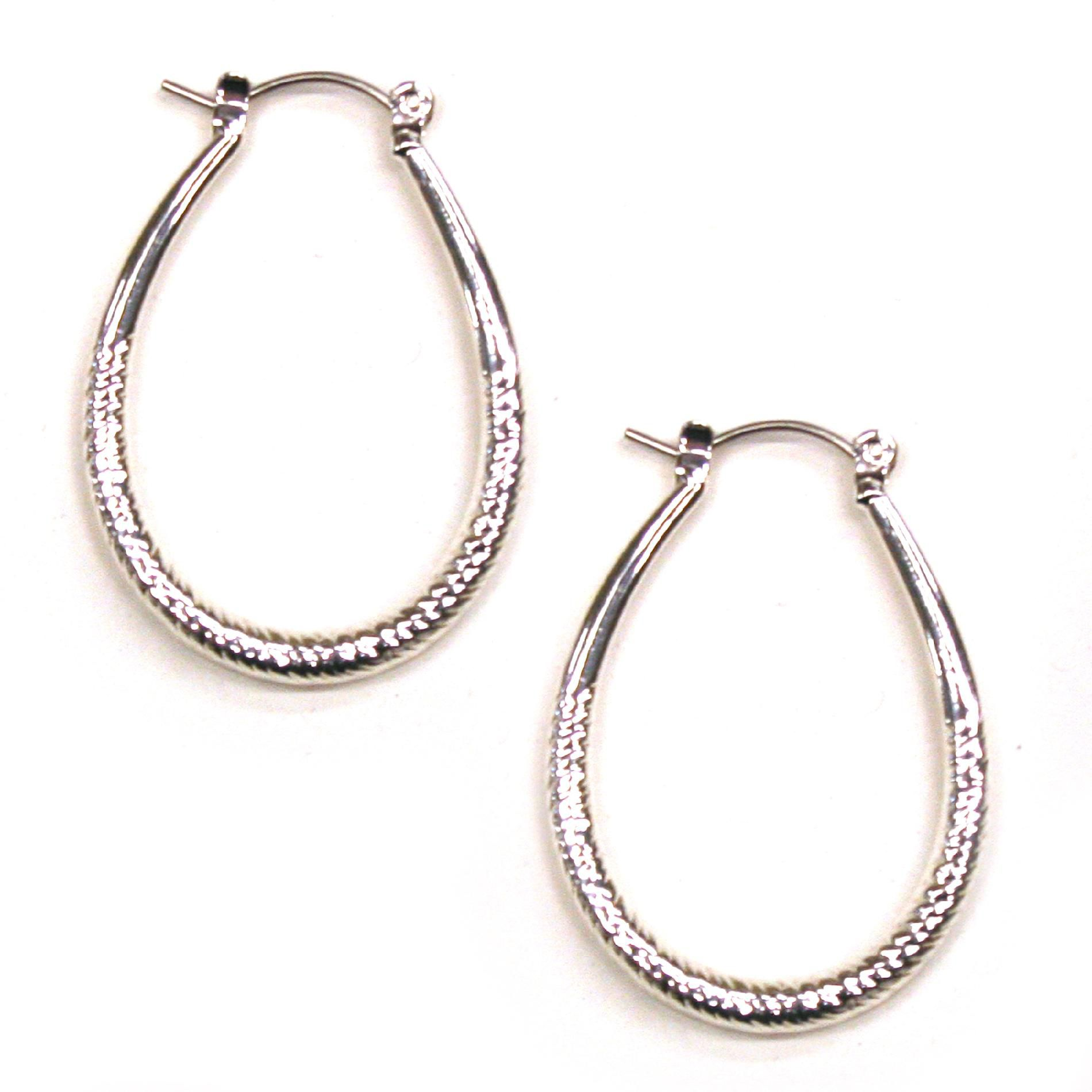 Shaped Hoop Earrings Textured Silver Metal
