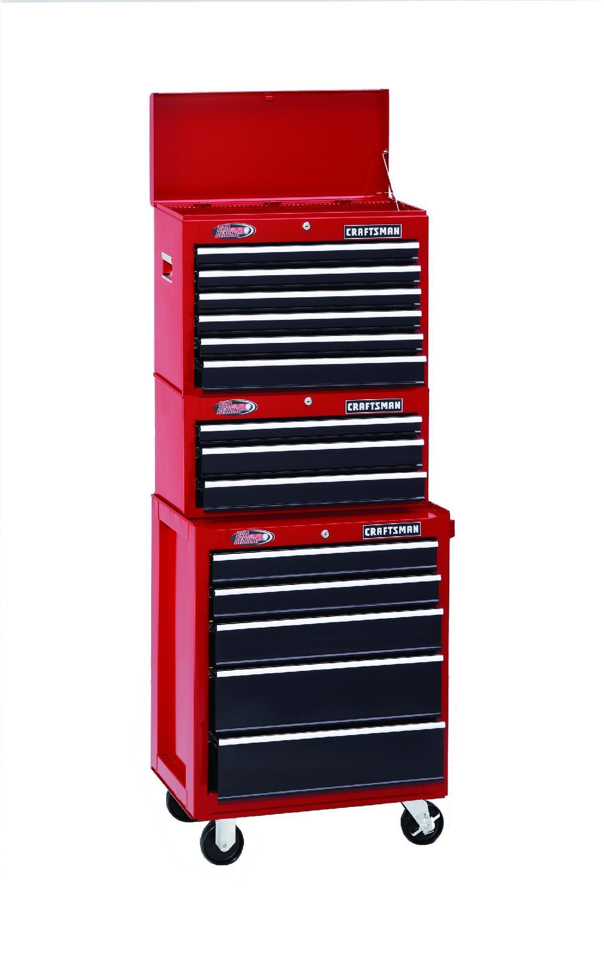 Craftsman-14 Drawer 26 in. Ball Bearing Combo - Red/Black - Each Item Sold Separately